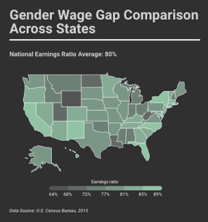 The wage gap is existent on a federal level in the U.S., but the issue is especially apparent when examining how different states compare in gender-based compensation. Responsive version here: https://infogr.am/afb3914e-8f07-4579-93a1-0592282b2ad0